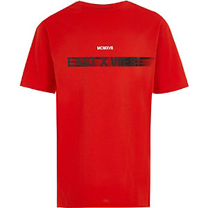 Boys red 'east x west' T-shirt