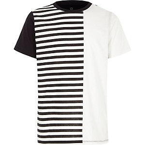 Boys white stripe print blocked T-shirt