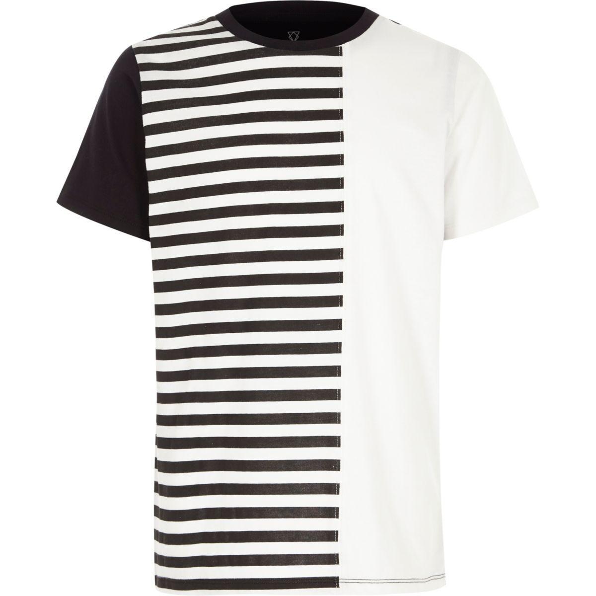 Boys white stripe print blocked T-shirt