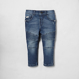 Mini boys blue biker detail Sid skinny jeans