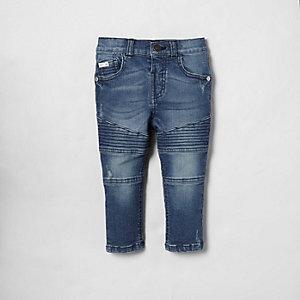 Mini - Sid - Blauwe skinny jeans met bikerdetail voor jongens