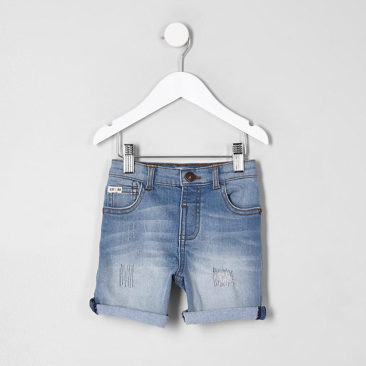 Mini boys blue ripped rolled hem denim shorts