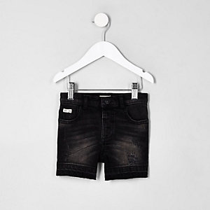 Mini boys black ripped denim shorts
