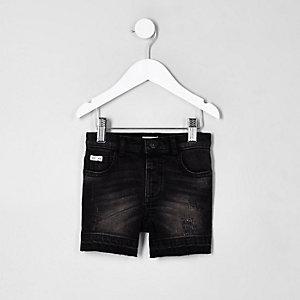 Schwarze Jeansshorts im Used-Look