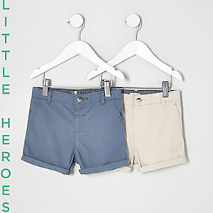 Mini boys blue and stone chino shorts pack