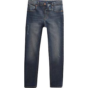 Boys dark blue wash Sid skinny jeans