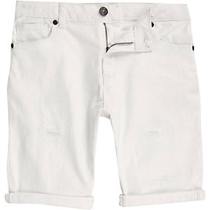 Short en jean blanc déchiré garçon