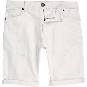 Witte ripped denim short voor jongens