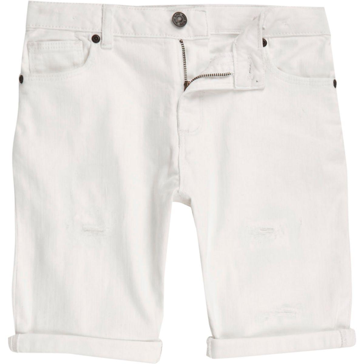Boys white ripped denim shorts