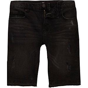 Boys black ripped denim shorts
