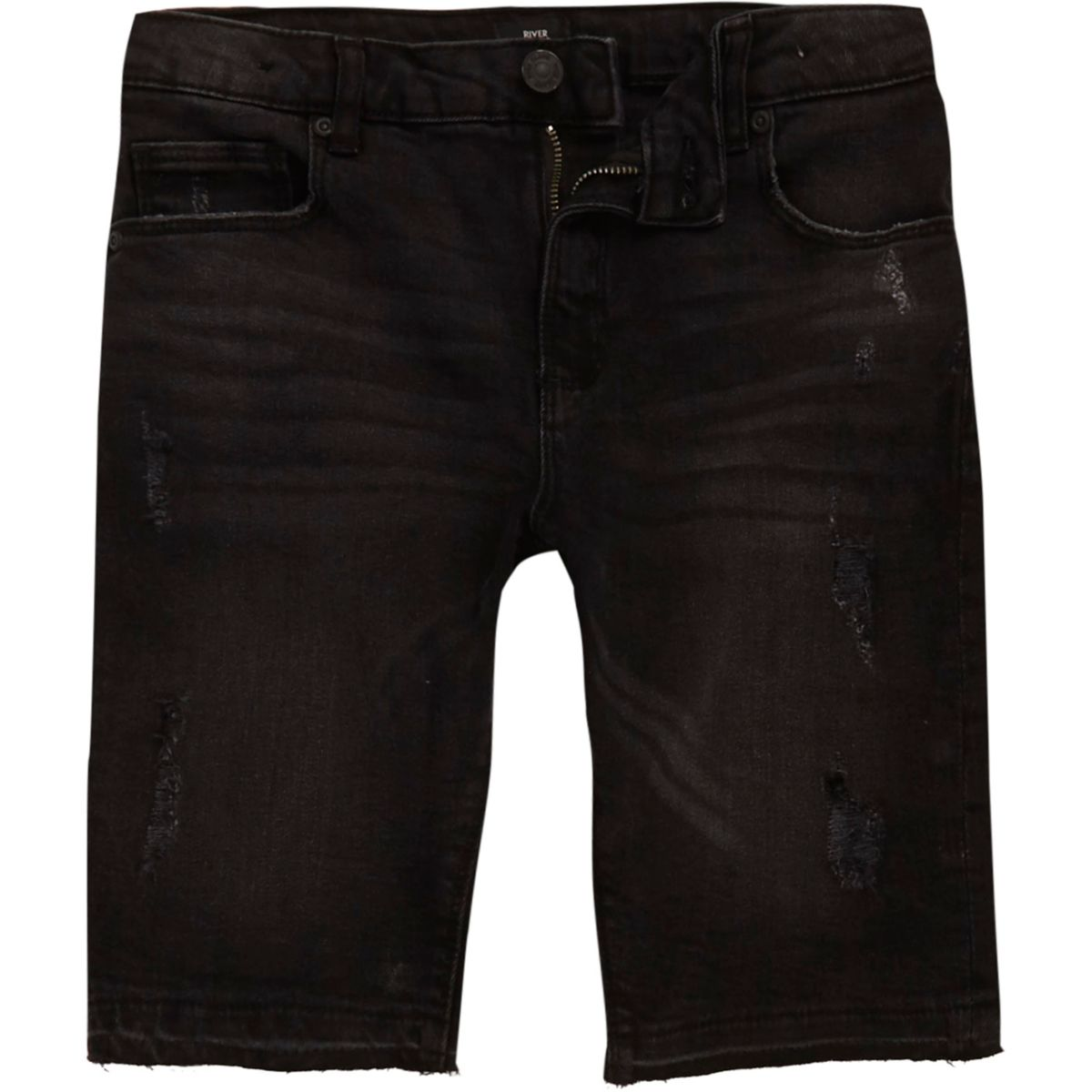Boys black ripped denim shorts