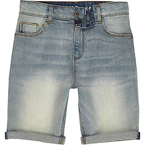 Boys blue spray effect denim shorts