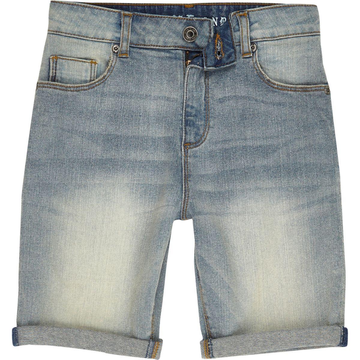 Boys blue spray effect denim shorts