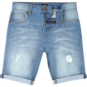 Boys light blue distressed denim shorts