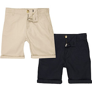 Boys navy and cream chino shorts multipack
