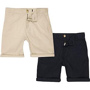 Multipack marineblauwe en crème chinoshort voor jongens
