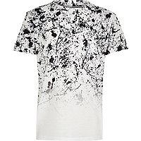 Boys white paint fade short sleeve T-shirt