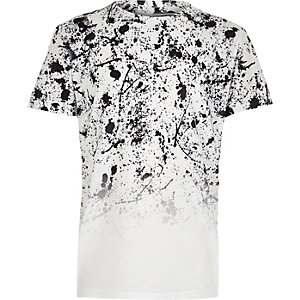 Boys white paint fade short sleeve T-shirt