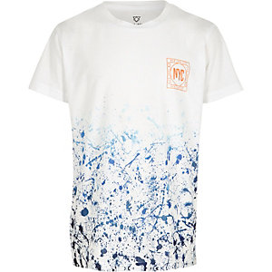 Boys blue paint print short sleeve T-shirt