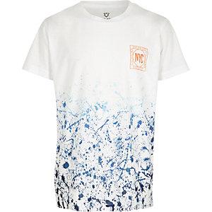 Blauw T-shirt met verfprint en korte mouwen voor jongens