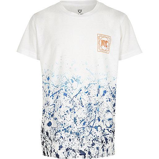 Boys blue paint print short sleeve T-shirt