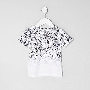 Mini - Wit vervagend T-shirt met verfspatten voor jongens