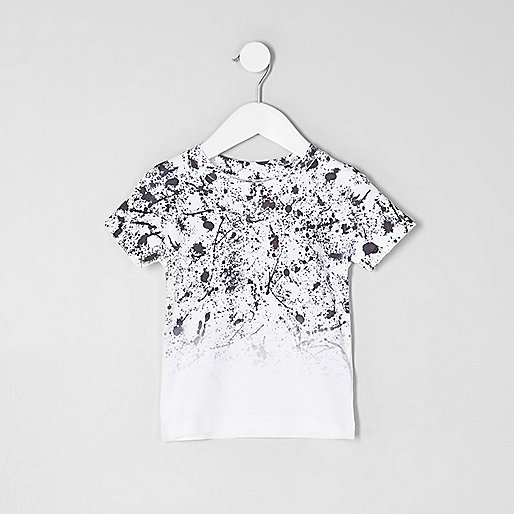 Mini boys white paint fade T-shirt