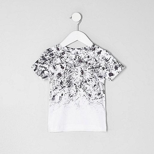 Mini boys white paint fade T-shirt
