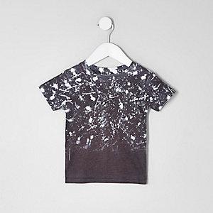 Mini - Zwart vervagend T-shirt met verfspatten voor jongens