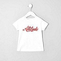 Mini boys white 'attitude' T-shirt