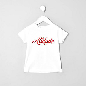 T-shirt « Attitude » blanc mini garçon