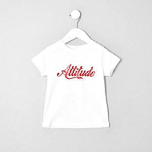 Mini - Wit 'attitude' T-shirt voor jongens