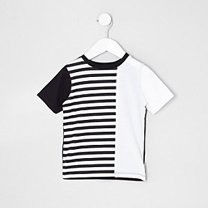 T-shirt rayé noir mini garçon