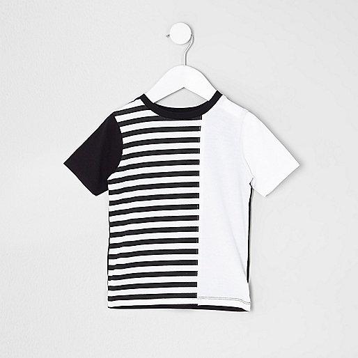 Mini boys black block stripe T-shirt