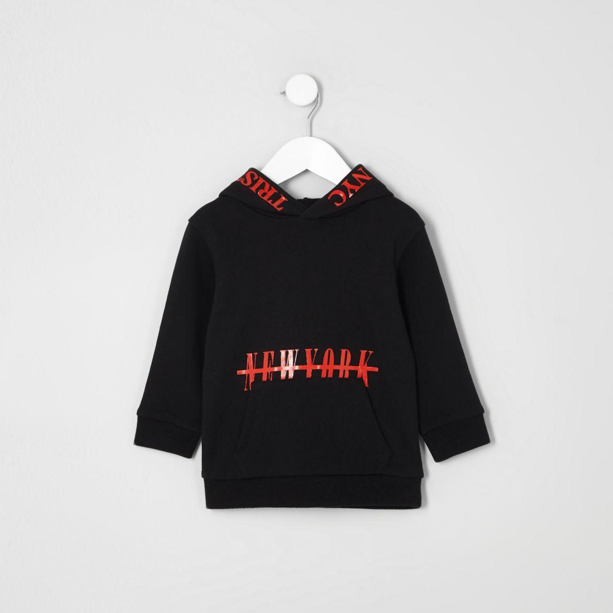 Sweat à capuche avec imprimé « New York » rouge et noir pour mini garçon