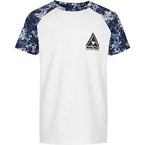Blauw T-shirt met raglanmouwen en bloemenprint voor jongens
