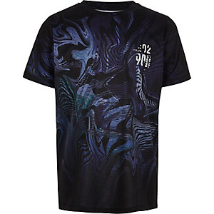 T-shirt bleu à imprimé délavé pour garçon