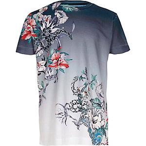 Blauw T-shirt met korte mouwen, bloemen- en slangenprint voor jongens