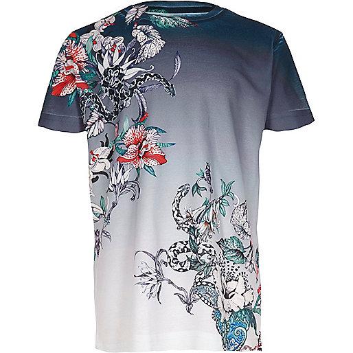 Boys blue floral snake short sleeve T-shirt