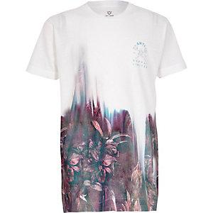 T-shirt imprimé fleuri délavé blanc à manches courtes pour garçon