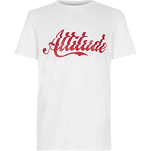 T-shirt à imprimé « attitude » blanc garçon