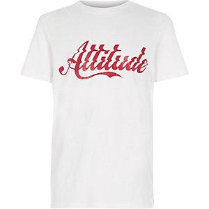 Wit T-shirt met 'attitude'-print voor jongens
