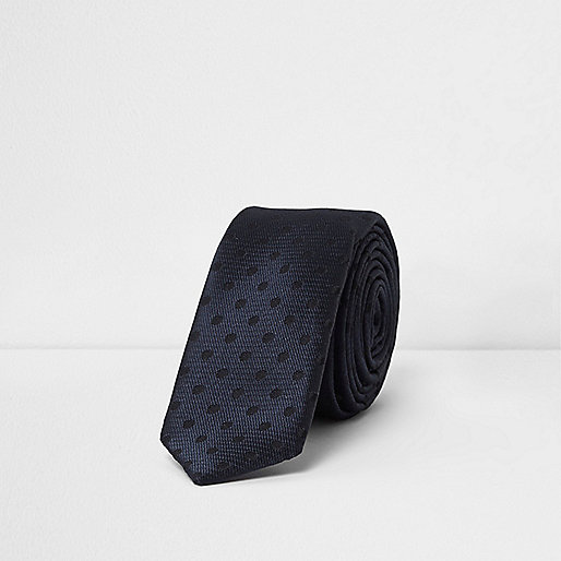 Boys navy polka dot tie