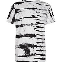 Boys white monochrome ink stripe T-shirt