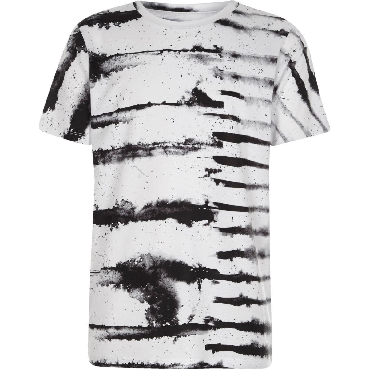 Boys white monochrome ink stripe T-shirt