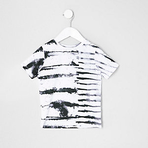 Mini boys white ink stripe T-shirt