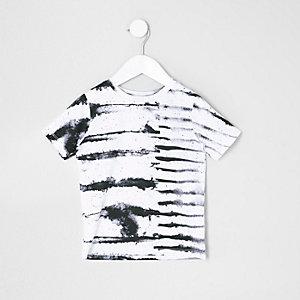 T-shirt rayé encre blanc mini garçon