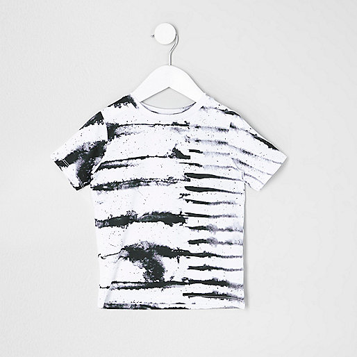 Mini boys white ink stripe T-shirt