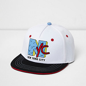 Boys white 'NYC' flat peak cap