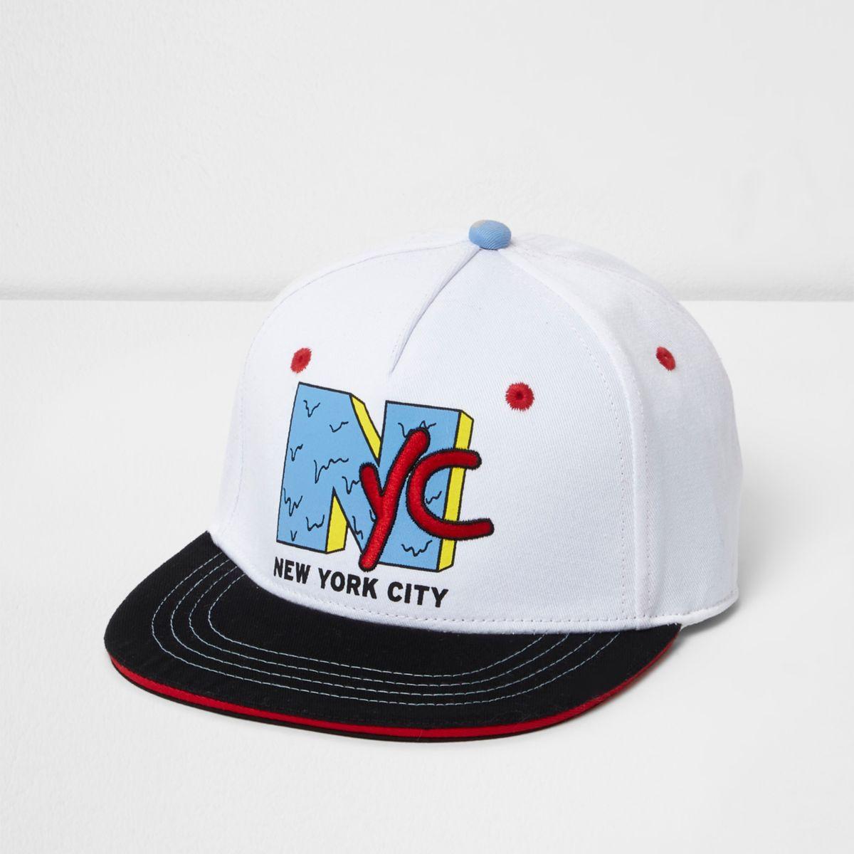 Boys white 'NYC' flat peak cap
